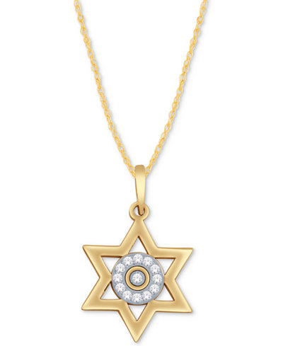 Diamond Accent Star of David Pendant Necklace in 14k Gold