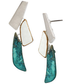 Robert Lee Morris Soho Tri-Tone Sculptural Drop Earrings