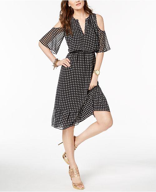 d2c804b5e04 Michael Kors Petite Printed Cold-Shoulder Dress   Reviews - Dresses ...