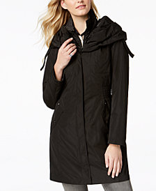 Laundry by Shelli Segal Pillow-Collar Ruched-Waist Raincoat