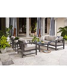 Aruba Grey Aluminum Outdoor 4-Pc. Seating Set (1 Sofa, 2 Club Chairs & 1 Coffee Table) with Sunbrella® Cushions, Created for Macy's