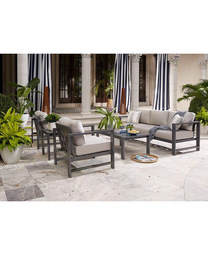 Furniture - Aruba Aluminum Outdoor 4-Pc. Seating Set (1 Sofa, 2 Club Chairs & 1 Coffee Table) with Sunbrella® Cushions