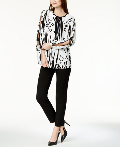 Alfani Tie-Sleeve Blouse & Modern Ponté-Knit Skinny Pants, Created for Macy's