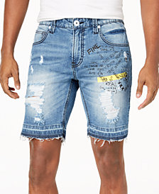 I.N.C. Men's Scribble Denim Shorts, Created for Macy's