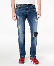 A|X Armani Exchange Men's Straight-Fit Stretch Rip-and-Repair Jeans