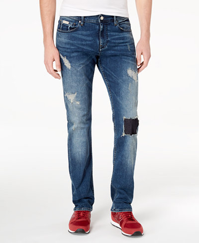 Armani Exchange Men's Straight-Fit Stretch Rip-and-Repair Jeans