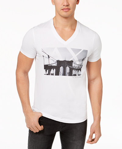 Armani Exchange Men's Graphic-Print V-Neck T-Shirt