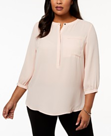 JM Collection Plus Size Pleated-Back Henley Blouse, Created for Macy's