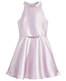 Pink & Violet Bow-Back Halter Dress, Big Girls