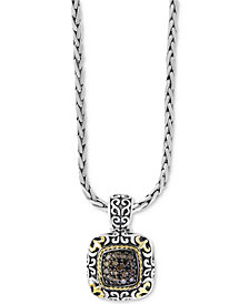 "EFFY® Diamond Filigree 18"" Square Pendant Necklace (1/2 ct. t.w.) in Sterling Silver and 18k Gold"
