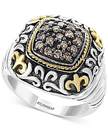 EFFY® Diamond Cluster Filigree Ring (1/2 ct. t.w.) in Sterling Silver and 18k Gold