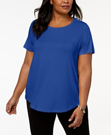 JM Collection Plus Size Short-Sleeve Top, Created for Macy's