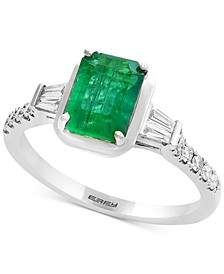 Gemstone Bridal by EFFY® Emerald (1-3/8 ct. t.w.) & Diamond (1/4 ct. t.w.) Engagement Ring in 18k White Gold