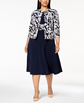 a6d5874958 Jessica Howard Plus Size Ruched Dress   Floral-Print Jacket