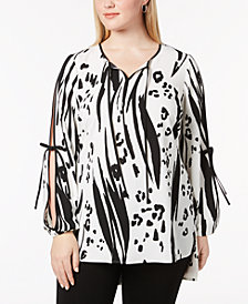 Alfani Plus Size Printed Split-Sleeve Tunic, Created for Macy's