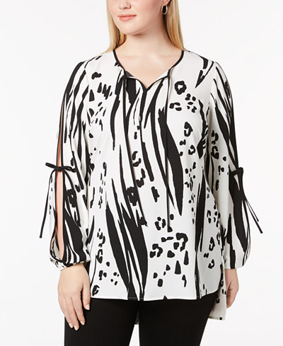 Alfani Plus Size Printed Split-Sleeve Tunic, Created for Macy's