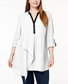 NY Collection Plus Size Asymmetrical Layered-Hem Tunic