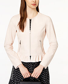 Maison Jules Ruffled Faux-Leather Jacket, Created for Macy's