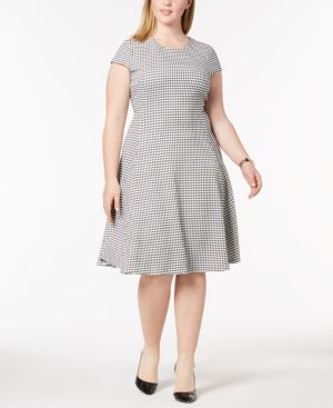 Image of Alfani Plus Size Gingham-Print Fit & Flare Dress, Created for Macy's