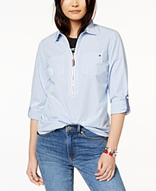 Cotton Half-Zip Printed Popover Top, Created for Macy's