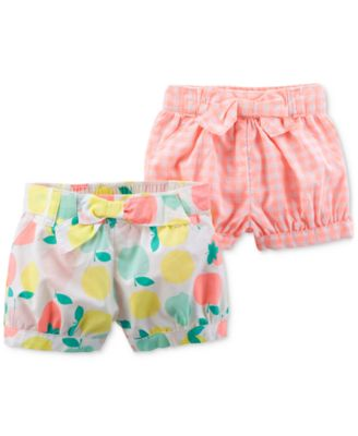 2-Pack Printed Bow Shorts, Baby Girls