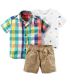 Carter's 3-Pc. Plaid Shirt, T-Shirt & Shorts Set, Baby Boys