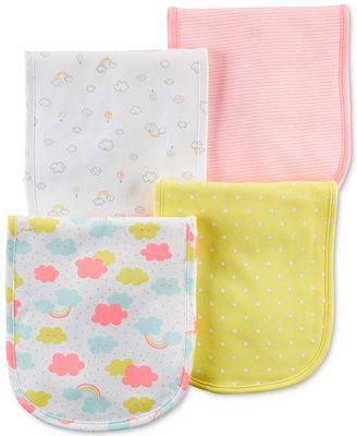 Carter's 4-Pack Graphic-Print Burp Cloths, Baby Girls