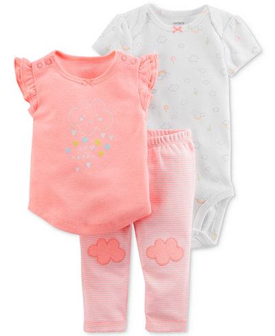 Carter's 3-Pc. Graphic-Print Top, Bodysuit & Pants Set, Baby Girls