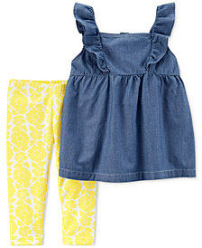 Carter's 2-Pc. Chambray Ruffle Tunic & Leggings Set, Baby Girls
