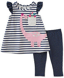 Kids Headquarters 2-Pc. Dino Tunic & Dot-Print Leggings Set, Baby Girls