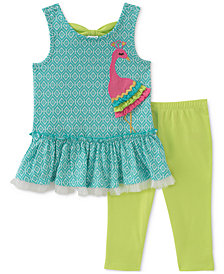 Kids Headquarters 2-Pc. Peacock Tunic & Leggings Set, Baby Girls