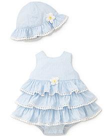 Little Me 2-Pc. Ruffled Popover Cotton Bodysuit & Hat Set, Baby Girls