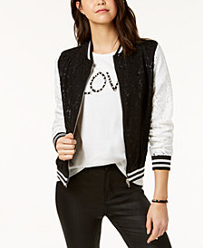 Say What? Juniors' Contrast Lace Varsity Jacket