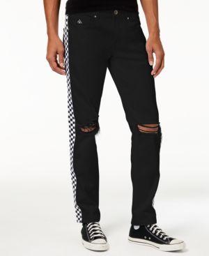 American Stitch Men's Straight-Fit Checker-Stripe Destroyed Jeans 5336208