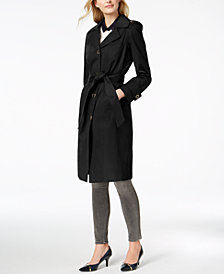 Anne Klein Hooded Belted Maxi Trench Coat