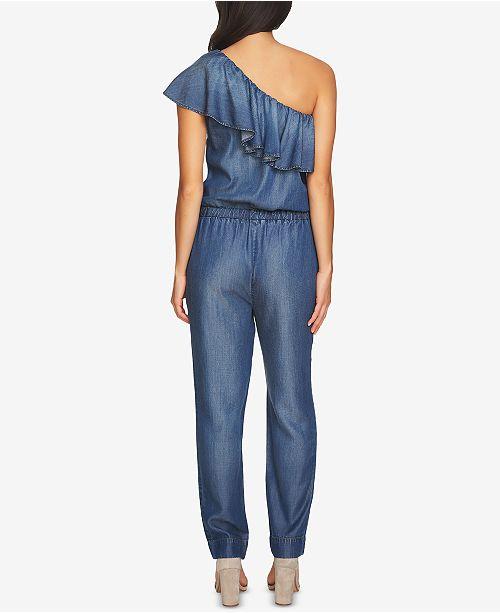 53728481b68c 1.STATE One-Shoulder Denim Jumpsuit   Reviews - Tops - Women - Macy s