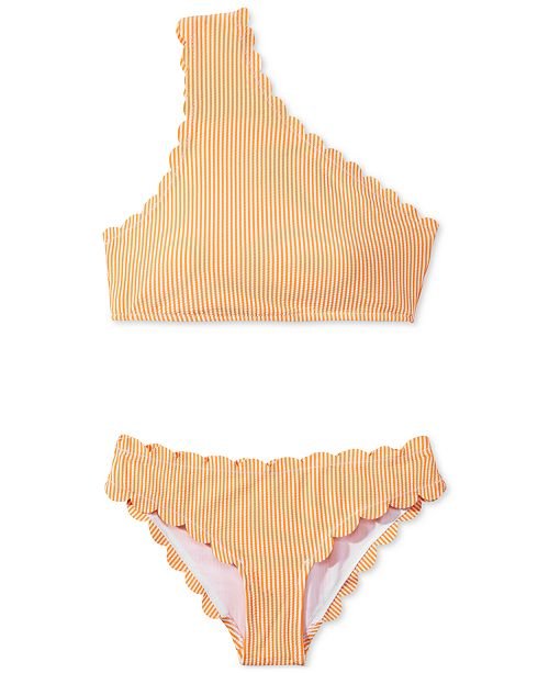 de566a37e5 Jessica Simpson Cotton Candy Striped Scalloped One-Shoulder Top   Hipster  Bikini Bottoms ...