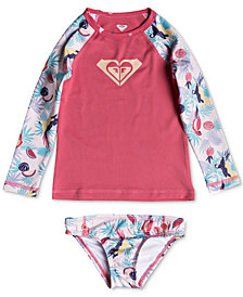 Roxy 2-Pc. Tropical Parrots Rash Guard Swim Set, Toddler Girls