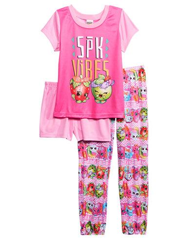 Shopkins 3-Pc. SPK Vibes Pajama Set, Little Girls & Big Girls