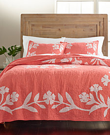 Martha Stewart Collection Hibiscus Medallion Cotton Quilt and Sham Collection