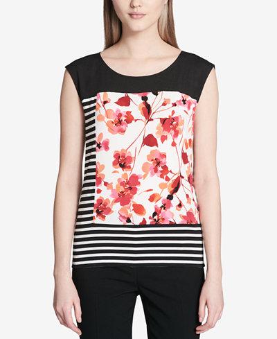 Calvin Klein Striped Floral-Graphic Top