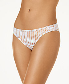 Hula Honey Junior's Oceanfront Striped Bikini Bottoms, Created for Macy's