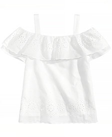 Monteau Ruffle-Trim Eyelet Top, Big Girls