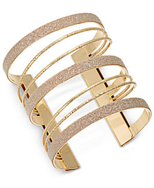 Thalia Sodi Gold-Tone Glitter Multi-Row Cuff Bracelet, Created for Macy's