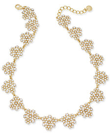 "Charter Club Gold-Tone Crystal & Imitation Pearl Cluster Collar Necklace, 17"" + 2"" extender, Created for Macy's"