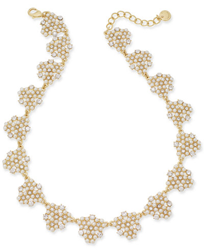 Charter Club Gold-Tone Crystal & Imitation Pearl Cluster Collar Necklace, 17