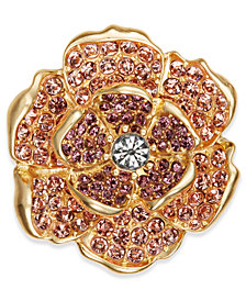 Charter Club Gold-Tone Multi-Stone Flower Pin, Created for Macy's