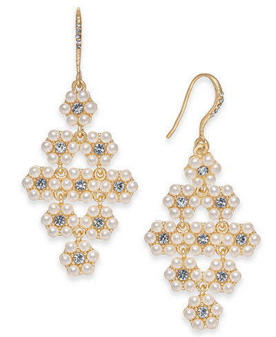 Charter Club Gold-Tone Crystal & imitation Pearl Flower Chandelier Earrings, Created for Macy's