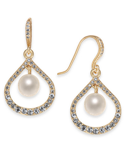 Charter Club Gold-Tone Pavé & Imitation Pearl Drop Earrings, Created for Macy's