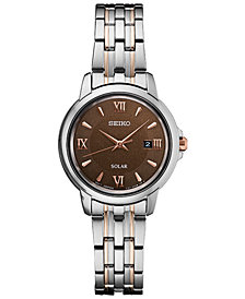 Seiko Women's Solar Essentials Two-Tone Stainless Steel Bracelet Watch 28mm